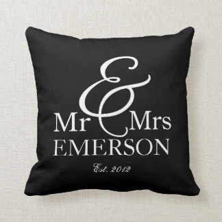 """""""Mr & Mrs"""" personalized black & white Throw Pillow"""