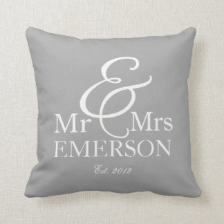 """Mr & Mrs"" personalized gray & white Throw Pillow"