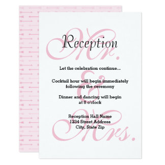Mr. & Mrs. Pink Arrows - Reception Invitation