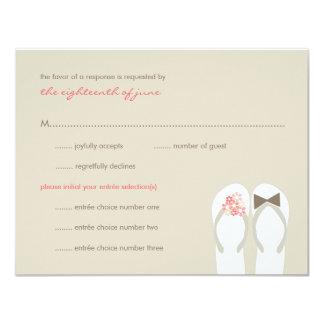 Mr & Mrs Pink Flip Flops Beach Wedding RSVP Card 11 Cm X 14 Cm Invitation Card