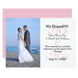 Mr. & Mrs. Pink We Eloped - Photo Announcement