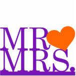 Mr & Mrs Purple & Orange Heart Cake Topper Photo Sculptures