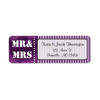 Mr & Mrs Purple Return Address Labels