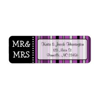 Mr & Mrs Purple Stripe Return Address Labels