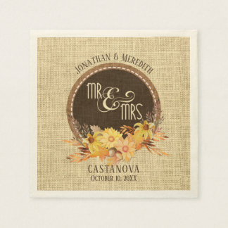 Mr & Mrs, Rustic Burlap, Autumn Floral Wedding Paper Napkins