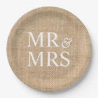 Mr & Mrs Rustic Burlap Wedding Simple 9 Inch Paper Plate