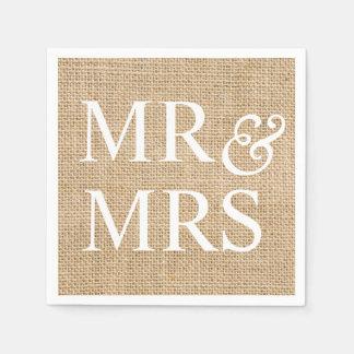 Mr & Mrs Rustic Wedding Burlap Trendy Country Paper Serviettes