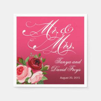 Mr. & Mrs. Script Typography Roses Floral fuchsia Paper Napkin
