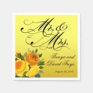 Mr. & Mrs. Script Typography Roses Floral yellow Paper Napkin