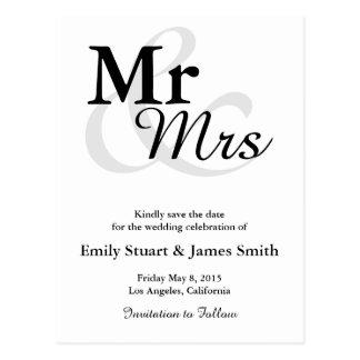 Mr&Mrs Simple Elegant Typography Save the Date Postcard