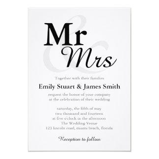 Mr &Mrs Simple Elegant Typography Wedding Card