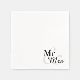 Mr&Mrs Simple Elegant Typography Wedding Paper Serviettes