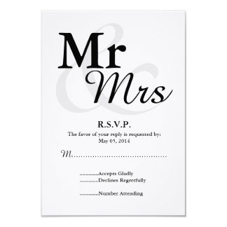 Mr&Mrs Simple Elegant Typography Wedding RSVP Card