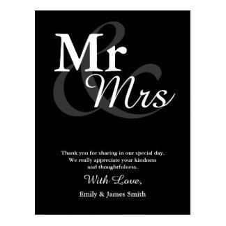 Mr&Mrs Simple Elegant Typography Wedding Thank You Postcard