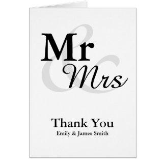 Mr&Mrs Simple Elegant Wedding Thank You Card