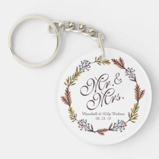 Mr. & Mrs. Simple Floral Wedding Keychain