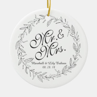 Mr. & Mrs. Simple Floral Wedding | Ornament
