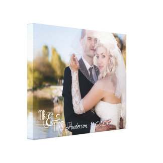 Mr & Mrs, Single Photo with Name and Date Canvas Print