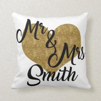 Mr & Mrs Smith Heart Pillow