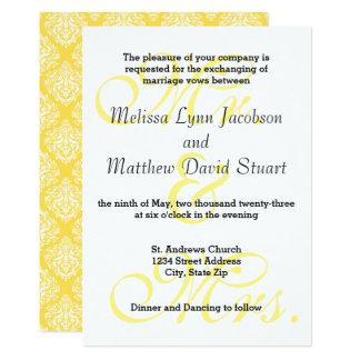 Mr. & Mrs. Soft Yellow - Wedding Invitation