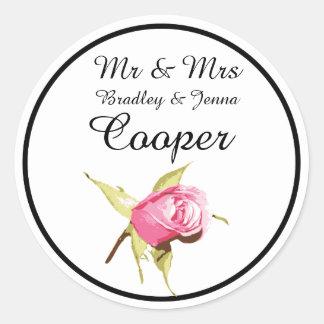 Mr & Mrs Stickers Vintage Rose Pink Black