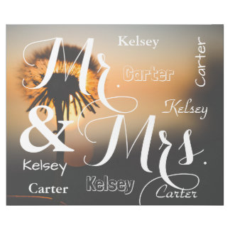 Mr & Mrs Summer Scene Personalized Names Wrapping Paper