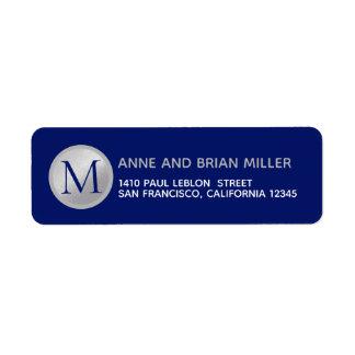 mr mrs surname monogram blue return address label