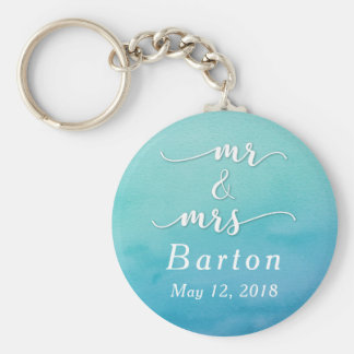 """Mr & Mrs"" Teal & Blue Wedding with Date Key Ring"
