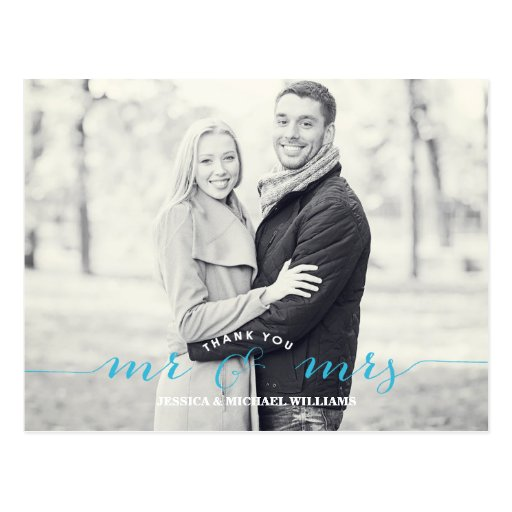 Mr & Mrs Thank You | Blue Post Card