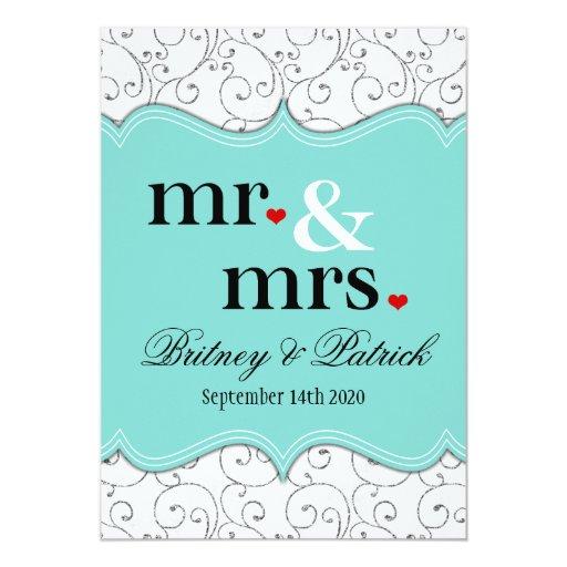 Mr & Mrs Tiffany Blue Wedding Invitations