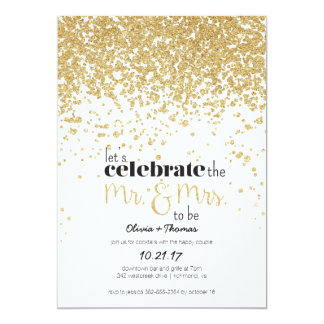 Mr. & Mrs. to be Gold Glitter Engagement Invite