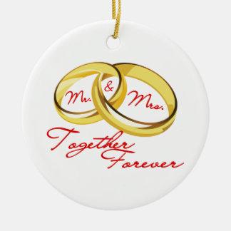 Mr & Mrs Together Forever Wedding Rings Ceramic Ornament