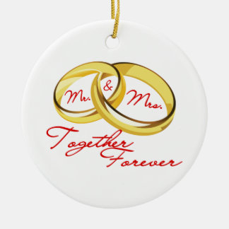 Mr & Mrs Together Forever Wedding Rings Christmas Tree Ornaments