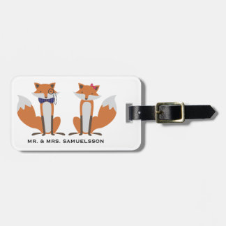 Mr. & Mrs. travel Luggage Tag | Foxes couple