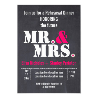 Mr. & Mrs. typography wedding rehersal dinner 13 Cm X 18 Cm Invitation Card