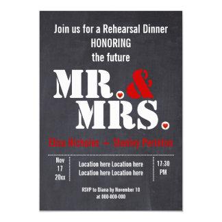 Mr. & Mrs. typography wedding rehersal dinner Card