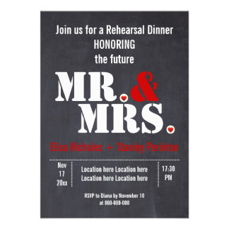 Mr Mrs typography wedding rehersal dinner Custom Invite