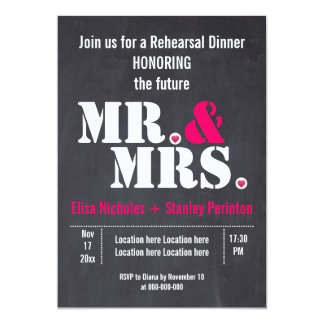Mr. & Mrs. typography wedding rehersal dinner Invitation