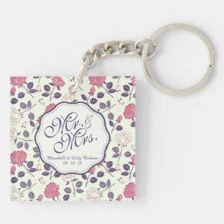 Mr. & Mrs. Vintage Floral Wedding Keychain