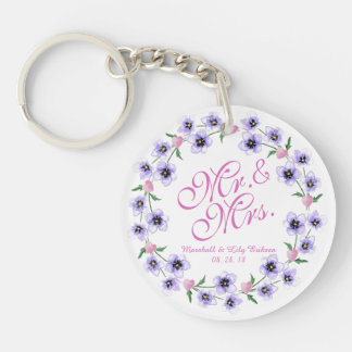 Mr. & Mrs. Watercolor Floral Wedding Keychain