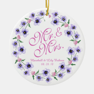 Mr. & Mrs. Watercolor Floral Wedding Ornament