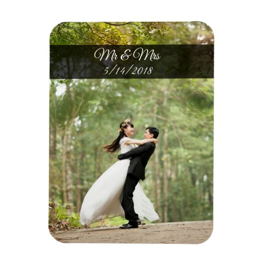 Mr & Mrs Wedding Couple Photo Mini Magnet