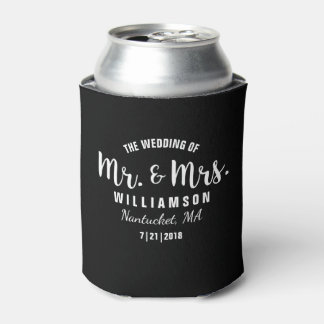 Mr. & Mrs. Wedding Favor Simple Chic Trendy Black Can Cooler
