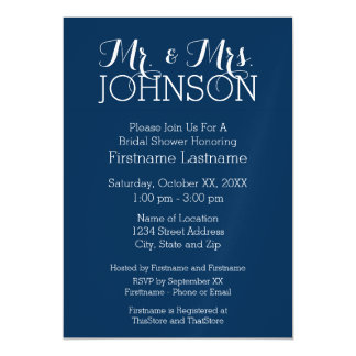 Mr & Mrs Wedding Favor Solid Color Navy Blue Magnetic Invitations