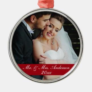 Mr. & Mrs. Wedding Photo Year Ornament R