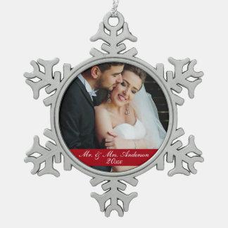 Mr. & Mrs. Wedding Photo Year Ornament Sn