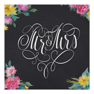 Mr&Mrs wedding poster 24x24 inches