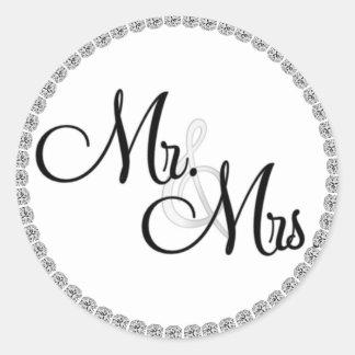 Mr & Mrs. Wedding SEALS/STICKERS BLING Classic Round Sticker