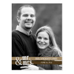 Mr. & Mrs. Wedding Thank You Card - Brown Postcards