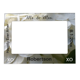 Mr. & Mrs. White Floral Wedding Frame